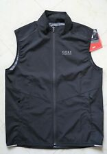 New Men's Gore Running Wear Essential Gore Windstopper Black Vest Size XL