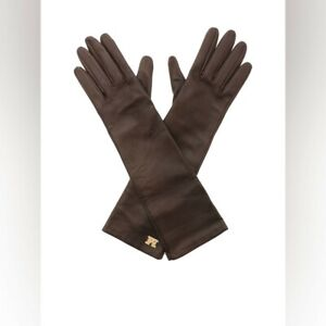 Max Mara Brown Nappa Brown Leather Gloves, size 8