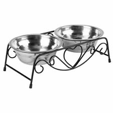 Universal Double Pet Bowl Puppy Food Water Feeder Stainless Steel Drinking Dish