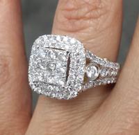 DEAL!2.00CT Genuine Diamond Cluster Halo Engagement Wedding Ladies Ring 14K Gold