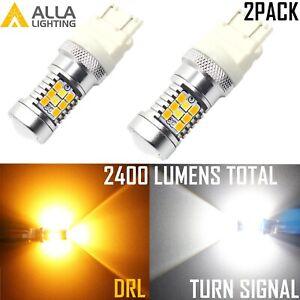 Alla 3457NA White Parking Light Bulb|DRL|Yellow Turn Signal|Sidemarker Bi-Color