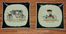 "VINTAGE PORCELAIN 3.75"" MATCHBOOK/MINT DISHES SCROLL-ARCHED CALECHE COACH, BUGGY"