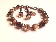 Swarovski Crystal Elements 8mm Bracelet Antique Copper Brown,Silk & Rose Gold