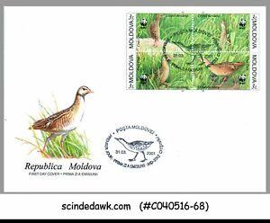 MOLDOVA - 2001 CORN CRAKE BIRD - 4V - FDC