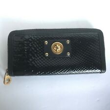 Marc By Marc Jacobs Black Patent Leather Python Turn Lock Zip Around Wallet