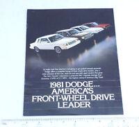 1981 Dodge America's Front-Wheel Drive Leader Catalog Ad