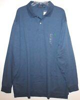 Polo Ralph Lauren Big Tall Mens Blue Heather L/S Soft Cotton Polo Shirt NWT 3XB