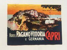 Vintage Hotel Luggage Label Hotel Pagano Vittoria E Germania, Capri