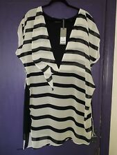 MINT VELVET BLACK WHITE LAYERED ASYMMETRIC TUNIC TOP SIZE 18 BNWT