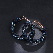 2018 Fashion Women Crystal Hoop Round Charming Ear Stud Shiny Rhinestone Earring