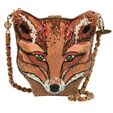 MARY FRANCES Sly Red Fox Foxy Brown Bag Handbag Purse Beaded NEW