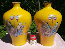 2 ANTIQUE imperial chinese yellow vtg art pottery porcelain painting vase jar