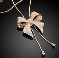 WOMEN GOLD BOWKNOT LONG SWEATER CHAIN NECKLACE PENDANT JEWELRY ACCESSORIES GIFT