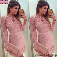 UK Women Ladies Bodycon Long Sleeve Lace Skater Prom Formal Cocktail Party Dress
