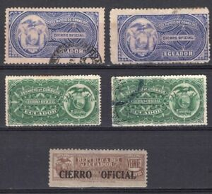 ECUADOR FIVE OFFICIAL LABELS STAMPS MH AND USED CIERRO OFICIAL