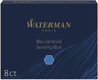 WATERMAN Cartouches d'encre longues, bleu sérénité effaçable (8 cartouches)