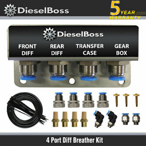 DIFF BREATHER KIT 4 POINT FOR NISSAN NAVARA D22 D23 NP300 D40 STAINLESS STEEL