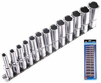 "Bluespot Metric Deep Socket Set/ Long Reach Sockets On Rail 3/8"" Drive 6-19mm"