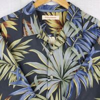 TOMMY BAHAMA Size XL Silk/Cotton Mens Palm & Palmetto Black Hawaiian Camp Shirt