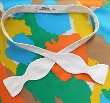 White repp dress bow tie Coles Knightsbridge size 19 self-tie vintage Edwardian