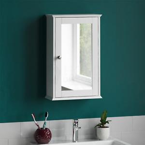 Bathroom Wall Cabinet Single Mirror Door Cupboard White Wood By Home Discount