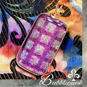 Wire Wrapped Dichroic Art Glass Pendant for Your Necklace ~ Estate Jewelry (O