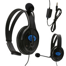 NEW HEADSET HEADPHONE WITH MICROPHONE +VOLUME CONTROL FOR PS4 CONTROLLER & PC UK