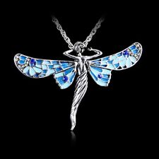 Retro Dragonfly Angel Tibetan Silver Crystal Pendant Chain Long Jewelry Necklace
