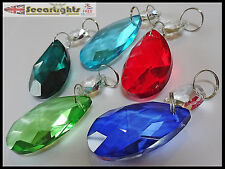 5 CHANDELIER DROPS CUT GLASS CRYSTALS OVAL RETRO COLOURS PRISM BEADS DROPLETS V1