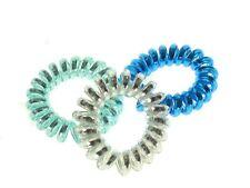 Blue Metallic Telephone Cord Scrunchie Hair Bobbles Hair Accessories UK
