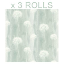 Teal White Abstract Dandelion Wallpaper Heavyweight Flower Floral Arthouse x 3