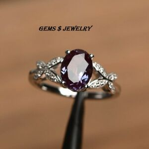 alexandrite ring June birthstone oval cut color changing gemstone silver 925 rng