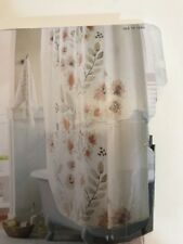 Flat Weave Shower Curtain Coral Blooms Floral Design Torn Packaging New