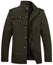 Wantdo Men's Cotton Stand Collar Jacket with Fleece Army Green - XL X-LARGE