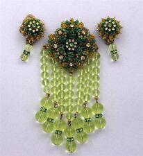 Vintage STANLEY HAGLER NYC Hand Beaded Lime Glass DANGLE Brooch & Earrings WOW