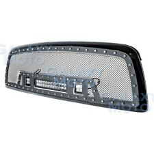 09-12 Dodge RAM 1500 Rivet Black SS Mesh Grille+Gloss Black Shell+w/ LED Lights