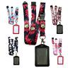 Red & Black Leather Vertical ID badge holder FLOWERS & Lanyard neck strap UK