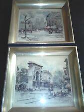 Herman Edouard Wagne French Impressionist 2 Paris Street Prints-Matching Frames