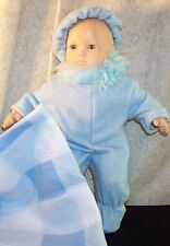 "Doll Clothes Baby Boy Girl fits 15"" inch Bitty Snow Suit Set 3pcs Blue Fleece"
