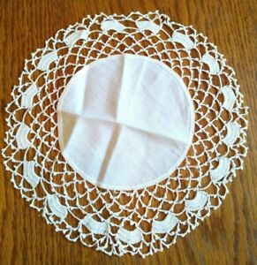 """Delicate Handmade Round White Doily, Dresser, Table Topper  - approx 11"""""""