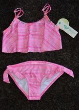 NWT Pink Roxy Girl Ruffle top Bikini 2 piece Swimsuit Size 12 Free Shipping