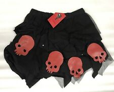 Gothic Halloween Black Skirt With Cutout Red Skulls One Size
