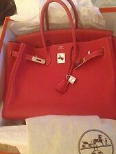 Hermes Birkin, Sanguine clemence  calfskin leather, Box ect...AUTHENTIC!!!