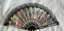 Vintage Hand Fan Collection Lot of 5 Fans – Paper, Wood, Cloth, Plastic –