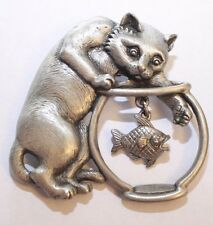 Brooch Pin - Signed JJ - Cat - Fish Bowl - Gold Fish - Dangle - Silver Tone