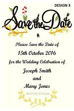 1 x SAVE THE DATE WEDDING BRIDE & GROOM PERSONALISED CARDS INVITATIONS + MAGNETS