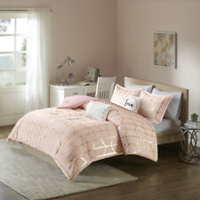 BEAUTIFUL MODERN CHIC PINK GOLD WHITE SOFT GEOMETRIC STRIPE GIRLS COMFORTER SET