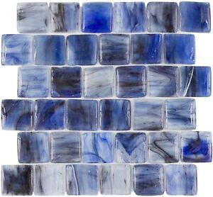 Classic Brick Pattern Blue Glossy Glass Mosaic Backsplash Tile Kitchen MTO0117