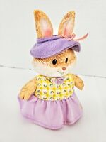 "Vintage Bunny Rabbit Figurine all Dressed up for Easter! 5"" tall Resin"