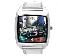 SQUARE SPORT CITY RACING SILVER REAL LEATHER WATCH FOR Mercedes Benz CAR FANS E2